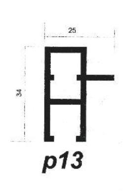 پروفیل آلومینیوم پارتیشن p13
